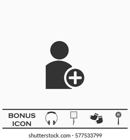 Add user icon flat. Black pictogram on white background. Vector illustration symbol and bonus button