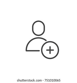 Add user male line icon, outline vector sign, linear style pictogram isolated on white. Member with plus symbol, logo illustration. Editable stroke