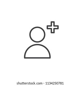 Add User outline icon. linear style sign for mobile concept and web design. Follower user simple line vector icon. Profile Avatar plus symbol, logo illustration. Pixel perfect vector graphics
