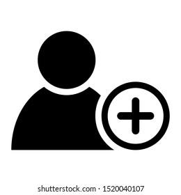 Add User vector Icon. New Profile illustration symbol. avatar sign or logo.