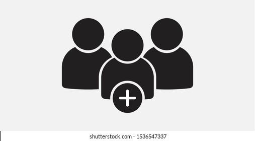 Add users icon. Group of people, team group, work group icon. Filled vector icon. Add group vector icon, add friends vector sign, social communication