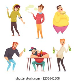 Addicted lifestyle. Alcoholism drugs and addiction from unhealthy habits vector cartoon characters in action poses
