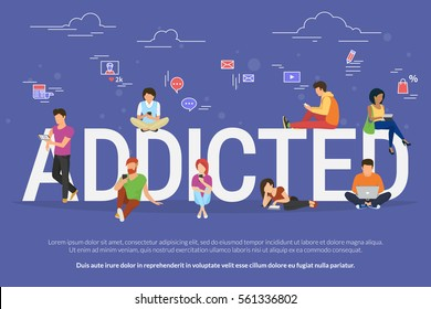 Addicted people concept illustration of young men and women using devices such as laptop, smartphone, tablets. Flat design of people addicted to gadgets sitting on letters with social media symbols