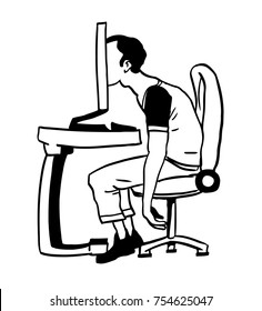 Addicted user sitting in front of PC with his head inside of a display. Internet or game immersion. Conceptual hand-drawn vector illustration.