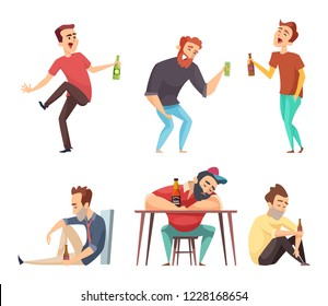 Addiction alcoholic. Addict peoples alcoholism and drugs drinking person beer vodka whiskey abuse vector characters isolated