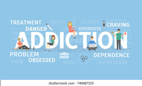 Addiction concept illustration. Drugs and food addiction.