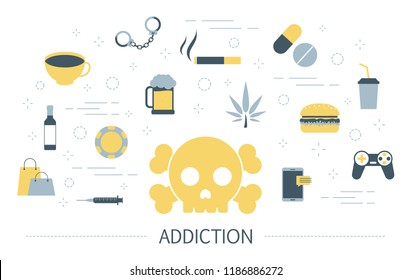 Addiction concept. Social, computer and drug addiction. Idea of people having problem with internet and narcotic. Unhealthy lifestyle. Set of colorful icons. Isolated flat vector illustration