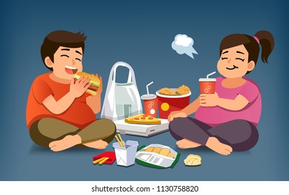 Addiction to Fast Food. Foods that are not nutritious to eat for a long time. People lazy generation.