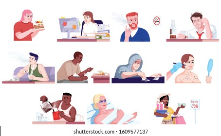 Addiction flat vector illustrations set. Gluttony, workaholism, alcoholism, narcomania, plastic surgery and tanning addiction, shopaholism. Addicted people isolated cartoon characters