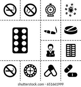 Addiction icon. set of 13 filled addictionicons such as no smoking, roulette, casino boy, cigarette, pill