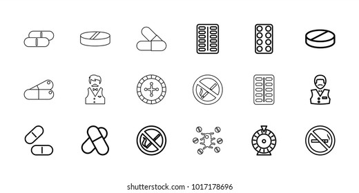 Addiction icons. set of 18 editable outline addiction icons: no smoking, roulette, casino boy, pill