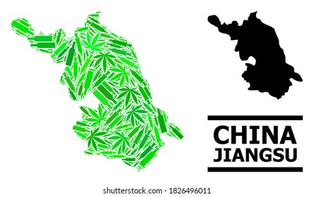 Addiction mosaic and solid Map of Jiangsu Province. Vector Map of Jiangsu Province is created with scattered vaccine symbols, weed and drink bottles.