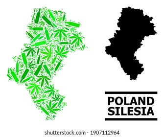 Addiction mosaic and usual map of Silesia Province. Vector map of Silesia Province is made of scattered syringes, addict and alcohol bottles.