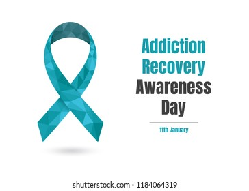 Addiction Recovery Awareness Day (January 11th) concept with blue awareness ribbon for web and printing.