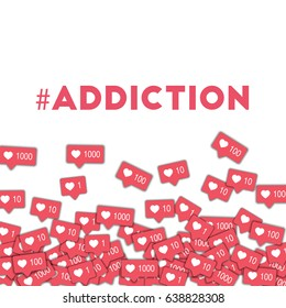 #addiction. Social media icons in abstract shape background with pink counter. #addiction concept in majestic vector illustration.