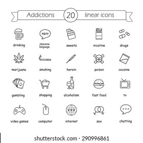 Addictions linear icons set. Thin line illustrations of bad habits. Vector