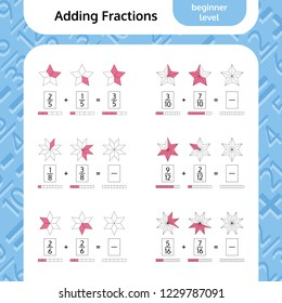 Adding Fractions Mathematical Worksheet. Coloring Book Page. Stars. Math Puzzle. Educational Game. Vector illustration.