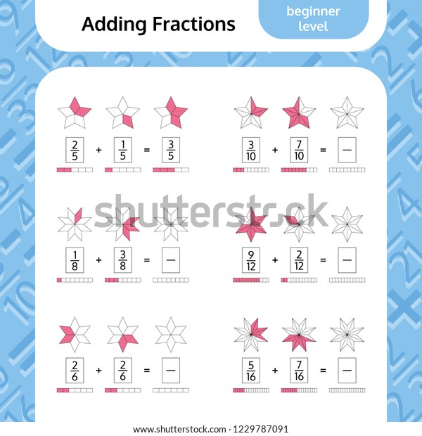 Adding Fractions Mathematical Worksheet Coloring Book Stock ...