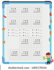 Adding and Subtracting Fractions Mathematical Worksheet Set. Triangles. Coloring Book Page. Math Puzzle. Educational Game. Vector illustration.