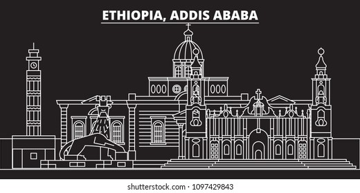 Addis ababa silhouette skyline. Ethiopia - Addis ababa vector city, ethiopian linear architecture, buildings. Addis ababa travel illustration, outline landmarks. Ethiopia icon, ethiopian line banner
