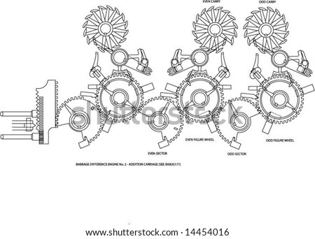 Addition Carriage Babbages Difference Engine No Stock Vektorgrafik