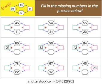 Addition and Subtraction. Fill in the missing numbers in the  puzzles below.