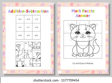 Addition, Subtraction Math Puzzle Worksheet. Educational Game. Mathematical Game. Vector illustration.