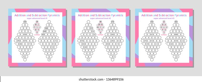 Addition and Subtraction Pyramid Set. Educational Math Game Worksheet. Mathematics puzzle. Vector Illustration.
