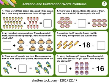 Addition and Subtraction word problems - Worksheet for education.
