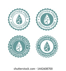Additives free badges set. Vector labels with drop and molecule icons for package design.