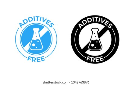 Additives free vector icon. Additives free no added, medically tested food package seal
