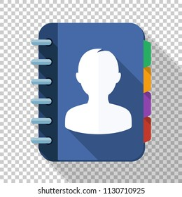 Address book icon in flat style with long shadow on transparent background