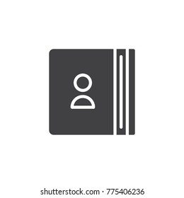 Address book icon vector, filled flat sign, solid pictogram isolated on white. Contacts symbol, logo illustration.
