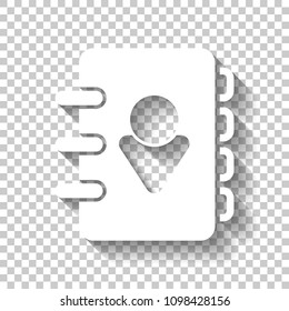 address book with person on cover. simple icon. White icon with shadow on transparent background