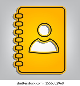 Address book sign. Flat orange icon with overlapping linear black icon with gray shadow at whitish background. Illustration.