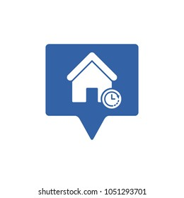 Address icon with clock sign. Address icon and countdown, deadline, schedule, planning symbol. Vector icon