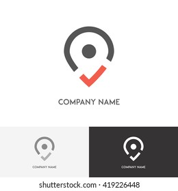 Address logo - pointer with tick on the white background