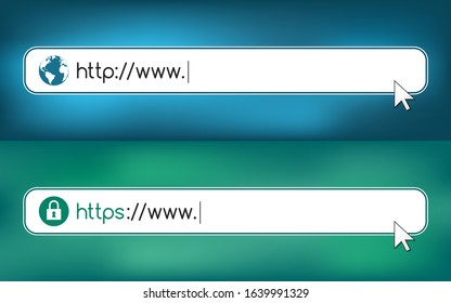 Address and navigation bar with http and https sign