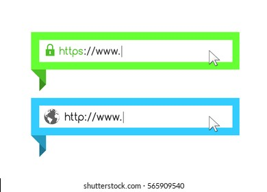 Address and navigation bar with http and https symbol. Eps10 vector illustration.