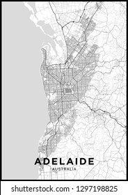 Adelaide (Australia) city map. Black and white poster with map of Adelaide. Scheme of streets and roads of Adelaide.