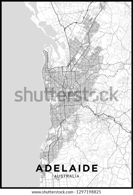 Map Of Adelaide Australia.Adelaide Australia City Map Black White Stock Vector Royalty Free