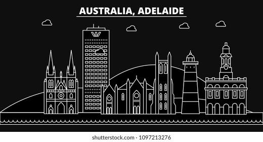 Adelaide silhouette skyline. Australia - Adelaide vector city, australian linear architecture, buildings. Adelaide travel illustration, outline landmarks. Australia flat icons, australian line banner