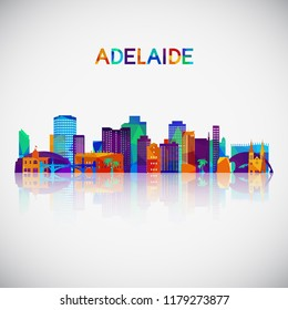 Adelaide skyline silhouette in colorful geometric style. Symbol for your design. Vector illustration.
