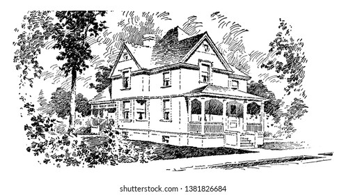 The Adele,  typical hipped roof, with gabled windows, exceptional amenities, the gourmet chef within,  vintage line drawing or engraving illustration.