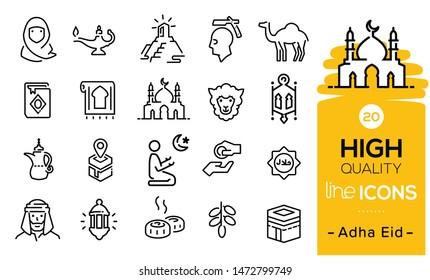 Adha eid icons set including eid items, sweet, lamp, muslim prayer, hajj process, praying icons, eid sheep, mosque, traditions symbols and Arabian items.