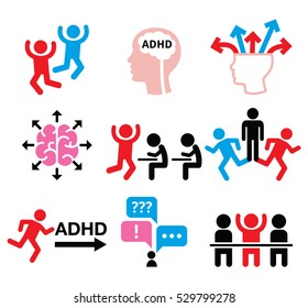 ADHD - Attention deficit hyperactivity disorder vector icons set