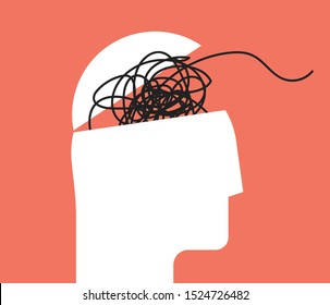 ADHD Attention disorder vector illustration of humans head silhouette with messy lines of thinks. Mental disorder icon. Vector illustration.