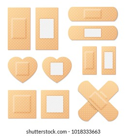 Adhesive bandage elastic medical plasters vector set. Illustration of medical plaster, elastic bandage patch