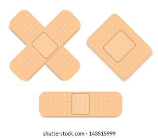 Adhesive bandage set, vector