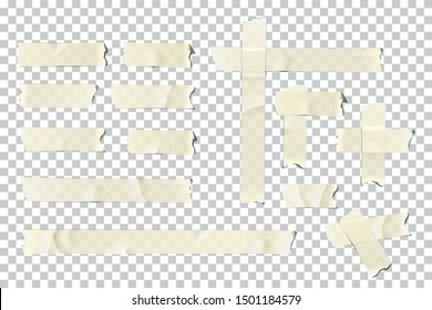 Adhesive or masking tape pieces set. Vector torn masking and adhesive tape parts isolated on transparent background